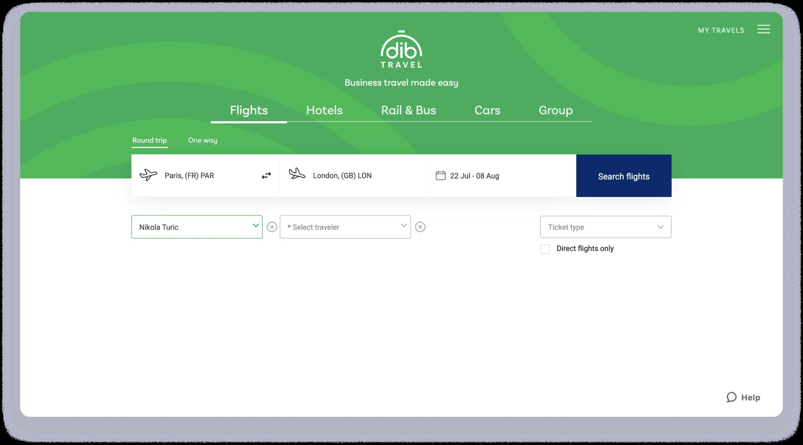 Dib travel booking engine